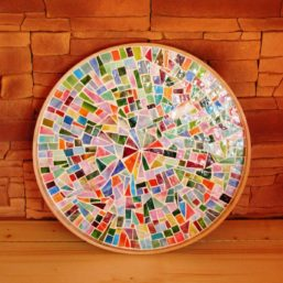 mozaikový podnos kulatý