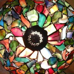 vitrážová lampa - horní pohled